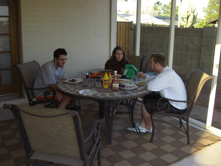 Chris, Molly and David sharing a very exciting meal. (February 2011)