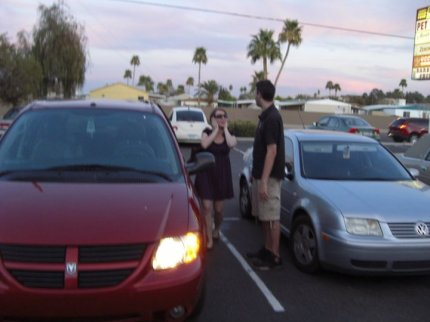 Molly and Chris in Phoenix. No one knows how she escaped. (February 2011)