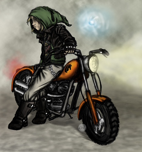 Link on a motorcycle