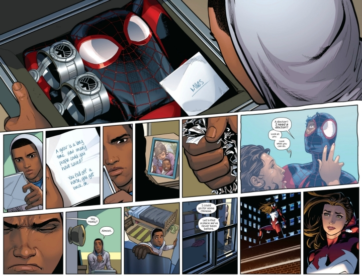 Miles opens the briefcase and refuses the mantle of Spider-Man once again.