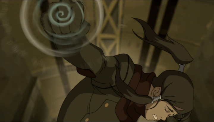 When Korra, at her weakest point, finally Airbends to save Mako...