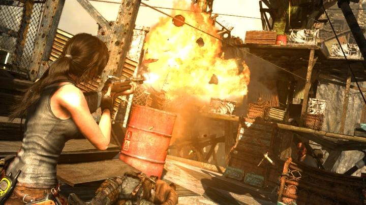 Lara blowing stuff up.
